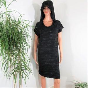 M4L   Black Athletic Wear Hooded Stretch Dress